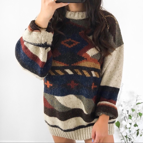 e5fbde708b119 Etchings Sweaters - vintage tribal aztec oversized sweater